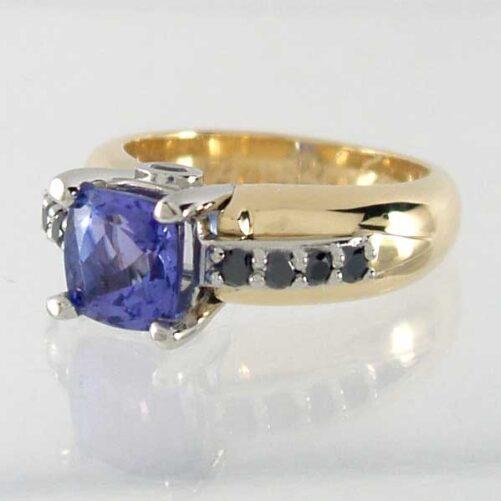Black Diamond & Cushion Gemstone Engagement Ring in Gold