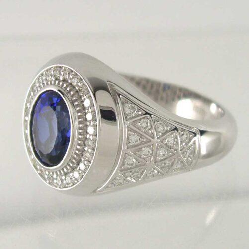 Oval Blue Sapphire & Bezel-set Diamond Halo Milgrain Ring