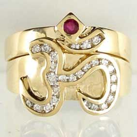 OM Ruby & Diamond Ring Set Yellow Gold