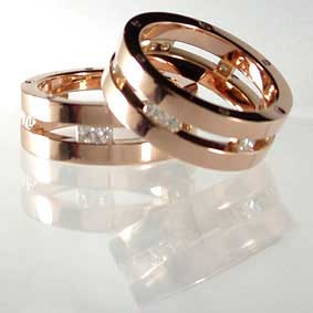 Rose Gold & Princess Diamond Couple Wedding Ring Set