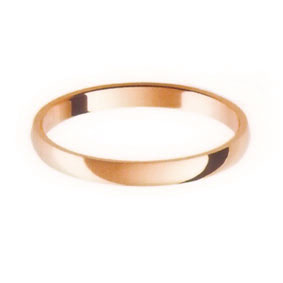 Rose Gold Wedding Ring with Half-Round Profile 2mm wide
