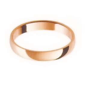 Rose Gold Wedding Ring with Half-Round Profile 3mm wide