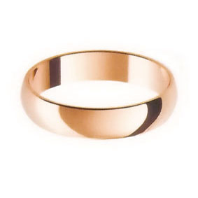 Rose Gold Wedding Ring with Half-Round Profile 4mm wide