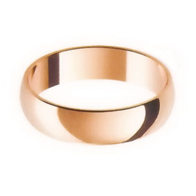Rose Gold Wedding Ring with Half-Round Profile 5mm wide