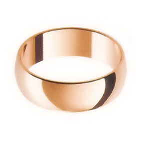 Rose Gold Wedding Ring with Half-Round Profile 7mm wide