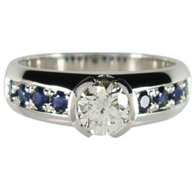 Round Diamond Engagement Ring with Blue Sapphire Accents