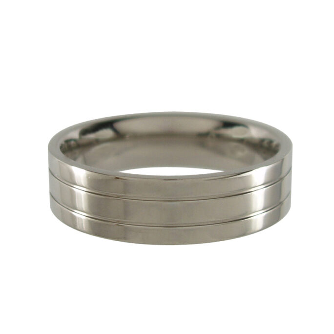 Titanium Ring with Central Grooves - Polished 6mm wide