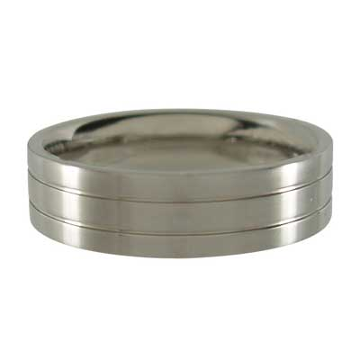 Titanium Ring with Central Grooves - Brushed 6mm wide