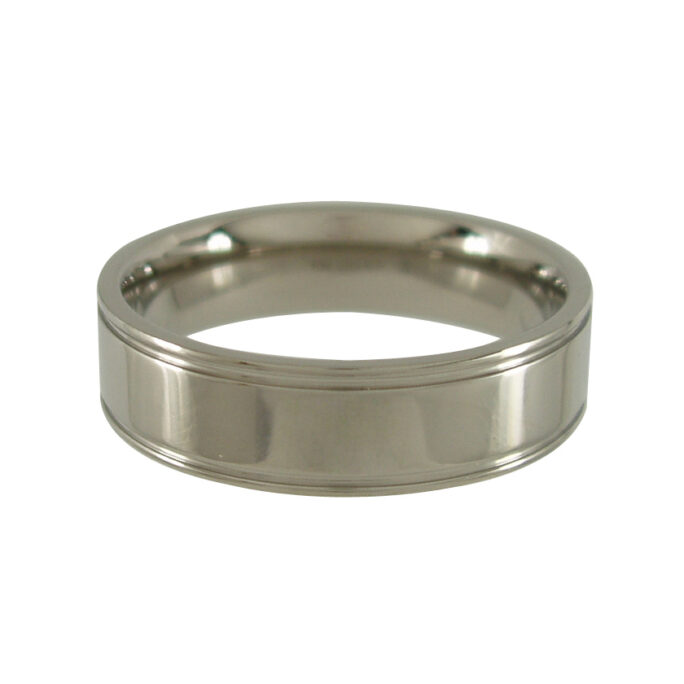 Titanium Ring with Edge Grooves - Polished 6mm wide
