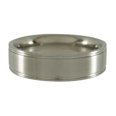 Titanium Ring with Edge Grooves - Brushed 6mm wide