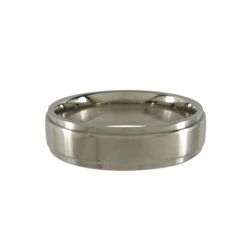 Titanium Ring with Stepped Edges - Polished 6mm wide