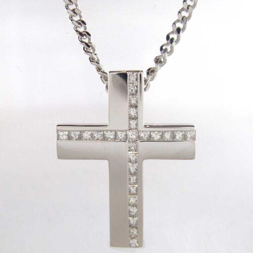 White Gold and Princess Diamond Modern Cross