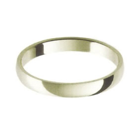 White Gold Wedding Ring with Half-Round Profile 2.5mm wide