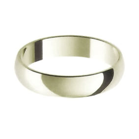 White Gold Wedding Ring with Half-Round Profile 4mm wide