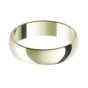 White Gold Wedding Ring with Half-Round Profile 5mm wide