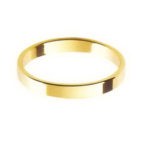 Yellow Gold Wedding Ring with Flat Profile 2.5mm wide