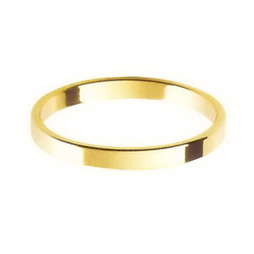 Yellow Gold Wedding Ring with Flat Profile 2mm wide
