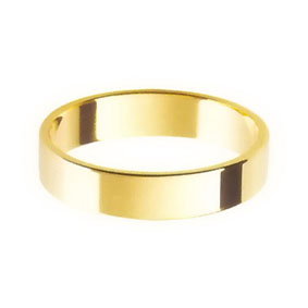 Yellow Gold Wedding Ring with Flat Profile 4mm wide