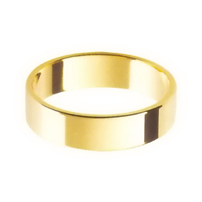 Yellow Gold Wedding Ring with Flat Profile 5mm wide