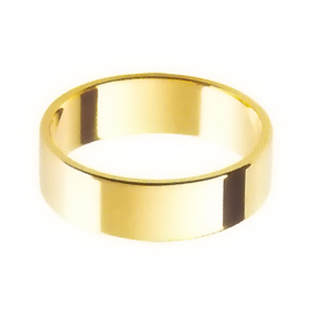 Yellow Gold Wedding Ring with Flat Profile 6mm wide