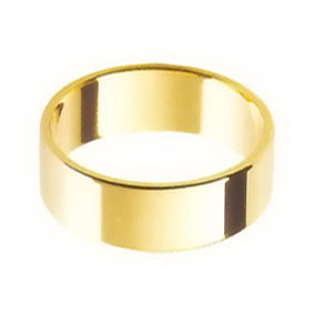 Yellow Gold Wedding Ring with Flat Profile 7mm wide