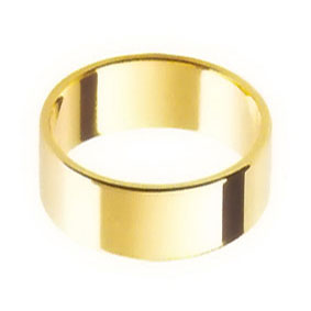 Yellow Gold Wedding Ring with Flat Profile 8mm wide