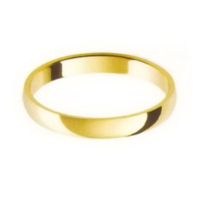 Yellow Gold Wedding Ring with Half-Round Profile 2.5mm wide