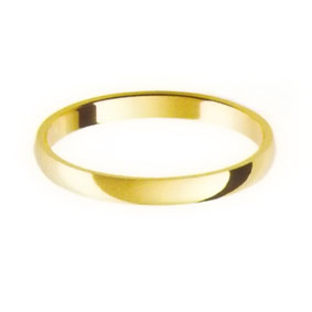 Yellow Gold Wedding Ring with Half-Round Profile 2mm wide