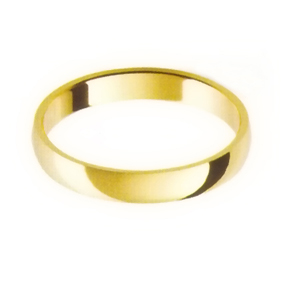 Yellow Gold Wedding Ring with Half-Round Profile 3mm wide