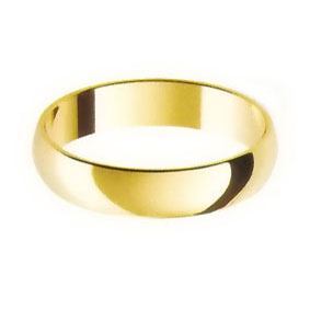Yellow Gold Wedding Ring with Half-Round Profile 4mm wide