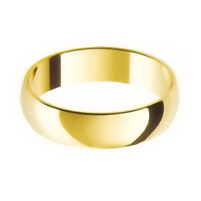 Yellow Gold Wedding Ring with Half-Round Profile 5mm wide