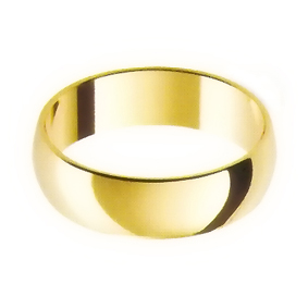 Yellow Gold Wedding Ring with Half-Round Profile 6mm wide