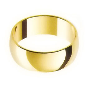 Yellow Gold Wedding Ring with Half-Round Profile 8mm wide
